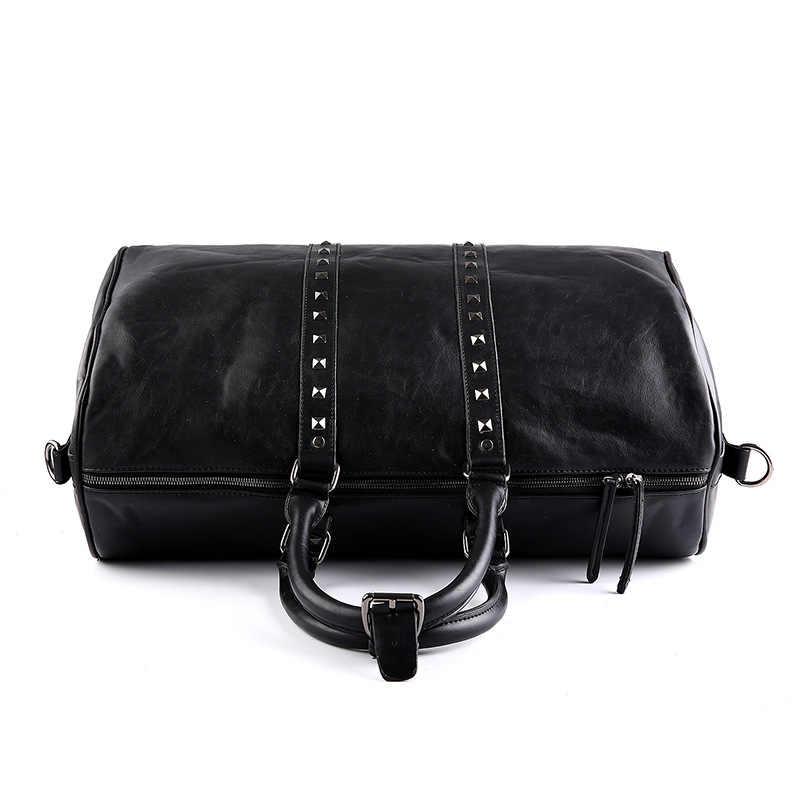 Высокое качество, Повседневная Дорожная сумка из искусственной кожи, мужские сумки, большая вместительность, дорожные сумки, черные мужские сумки-мессенджеры