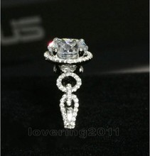 Victoria Wieck brillante 3ct Topaz simuló diamantes de 10KT oro blanco lleno mujeres de compromiso anillo de boda Sz 5-11 regalo