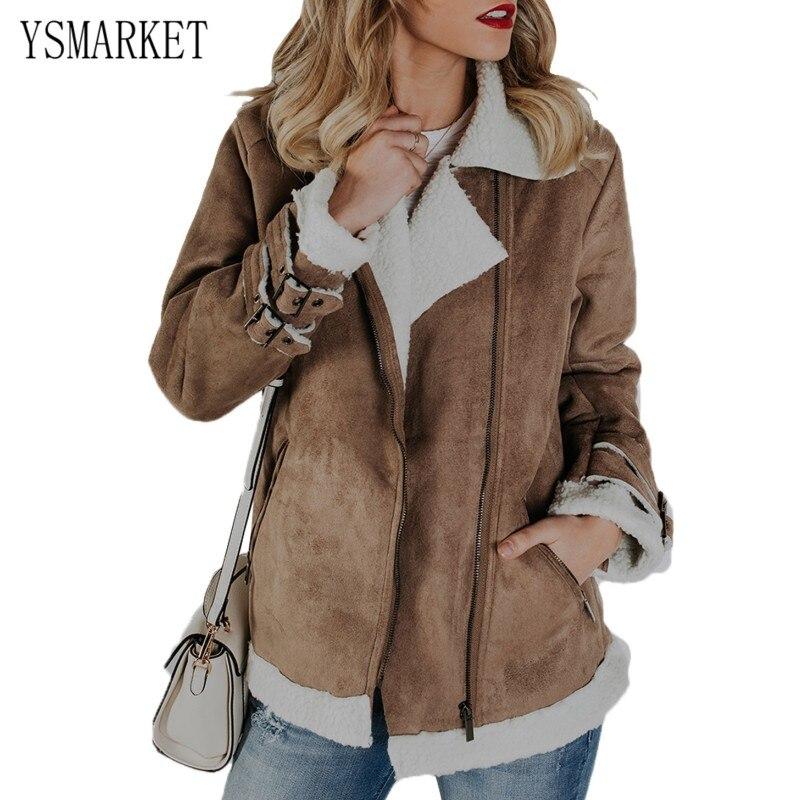 YSMARKET nouveau chaud 3 couleur veste en Faux daim avec poches à glissière col rabattu manches longues manteaux femmes vêtements d'hiver E85150