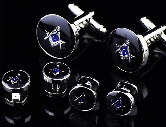 c2be70b46b00 Classic Freemason Tuxedo Cufflinks Collar Studs Set 6pcs Set Masonic Cuff  Links Buttons Set Men's Jewelry Accessory Gift 5Sets