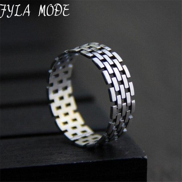 Fyla Mode Euramerican S925 Silver Watch Band Pattern Ring Casual Men