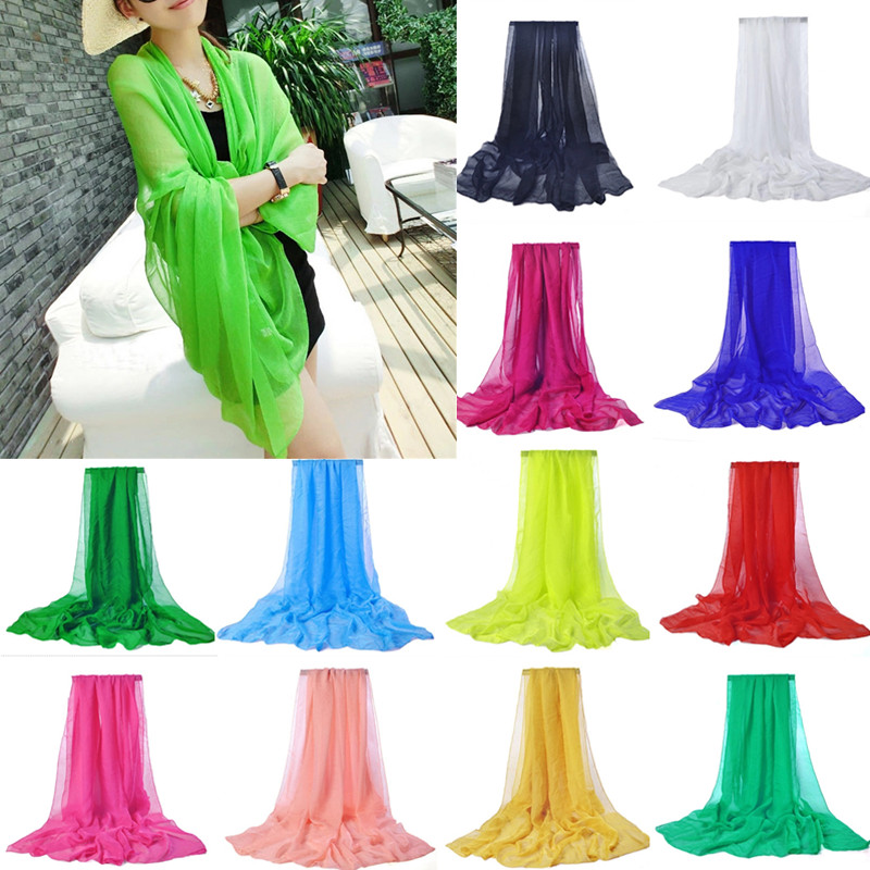 Hot Sale Women Fashion Solid Color Soft Beach Cover Up Shawls and Scarves Long Chiffon S ...
