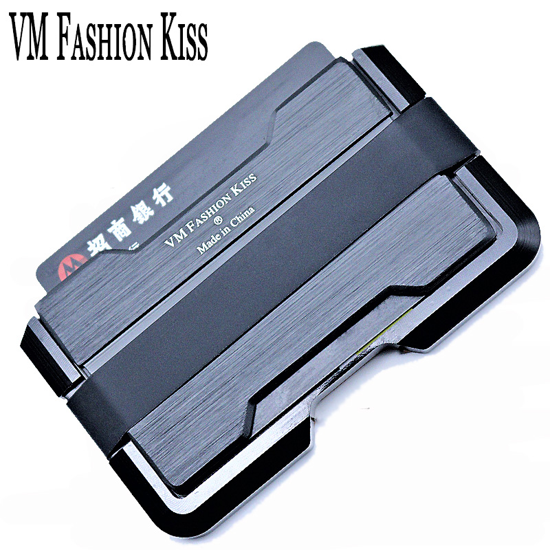 VM FASHION KISS 2018 Aviation Aluminum PU RFID Security Thin Metal Card Wallet Mini font b
