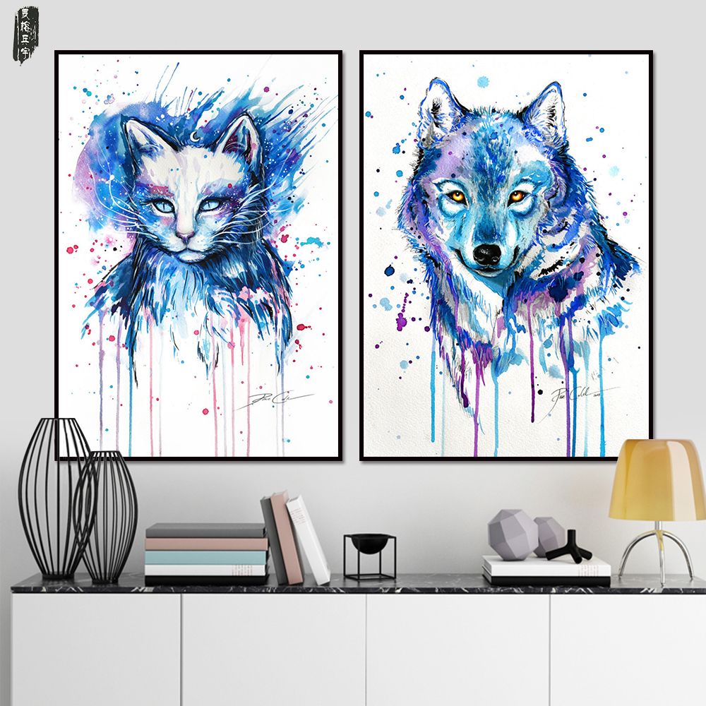 Toile Sets Art Abstrait Animal Toile Peinture Chat Photos Loup ...