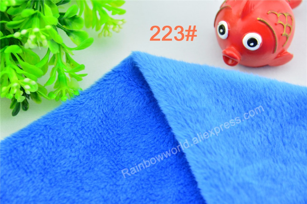 223# blue Super soft velvet Fleece Fabric microfiber Fleece velboa hair height 2-3mm for DIY Patchwork toy pillow(1 meter)