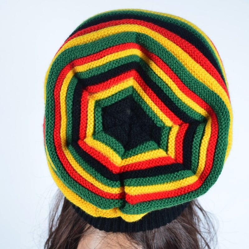 Fashion New Unisex Stretch Reggae Knitted Beanie Hat Bonnet Striped  Skullies Hats Slouchy Spring Gorro Caps For Men And Women-in Skullies    Beanies from ... 247b993ae70