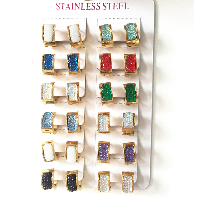 Hot selling 13mm 7mm New 12 color Hoops crystal Earrings For Women 316L Stainless Steel Earring