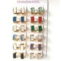 Hot selling 13mm*7mm New 12 color Hoops crystal Earrings For Women 316L Stainless Steel Earring  Fashion Hoop Earrings