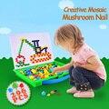 Дети Мозаика Творческий Игрушки Модели 296 шт. Pegboard Гриб Ногтей 3D DIY Kit Puzzle Развивающие Игрушки для Детей Мальчиков девушки