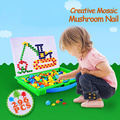 Kids Mosaic Creative Toy Patterns 296pcs Pegboard Mushroom Nails 3D DIY Kit Puzzle Educational Toys for Children Baby Boys Girls