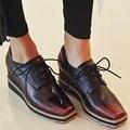 Aiweiyi lace up plataforma bombas zapatos oxfords zapatos de mujer cuñas señoras square toe lace up zapatos del holgazán del cuero genuino