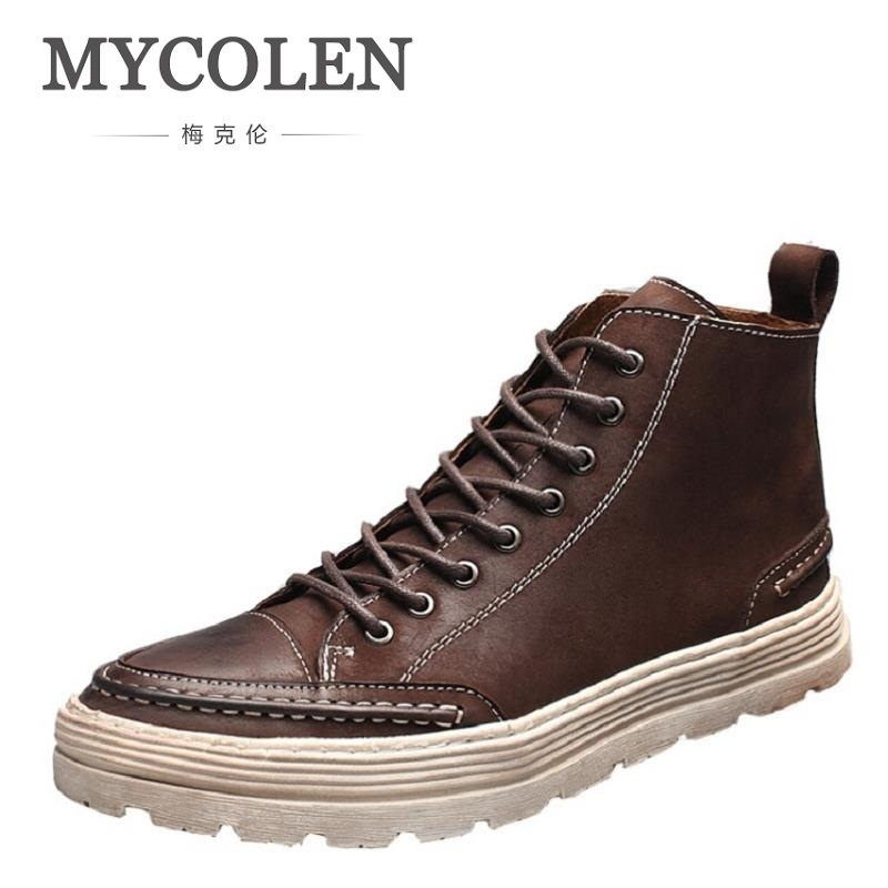 MYCOLEN Men Ankle Boots Fashion Autumn Footwear Genuine Leather Mens Shoes Lace Up Casual New Short Boot Brown Bota Militar