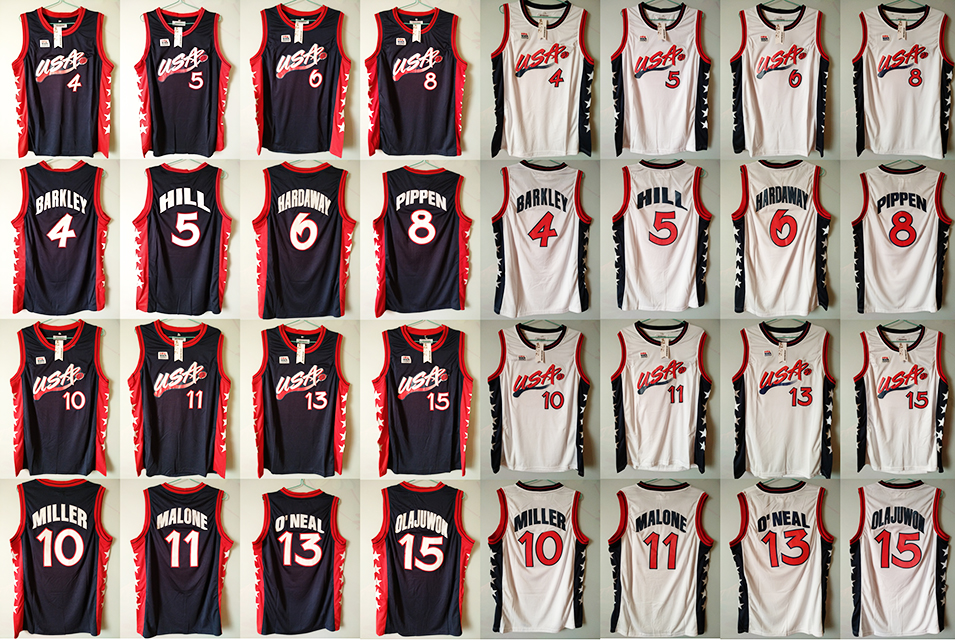 Retro Throwback Stitched Men's Reggie Miller 10 Grant Hill 5 Scottie Pippen 8 ...Team 1996 USA Basketball Jersey Shirt