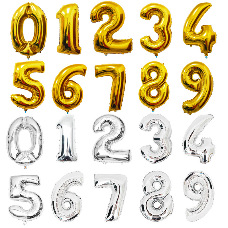 Balões Número Da Folha de Prata de Ouro de 16 polegada Dígitos Balões da Festa de Aniversário Fontes Do Partido Do Evento Decoração Do Casamento Balões De Ar