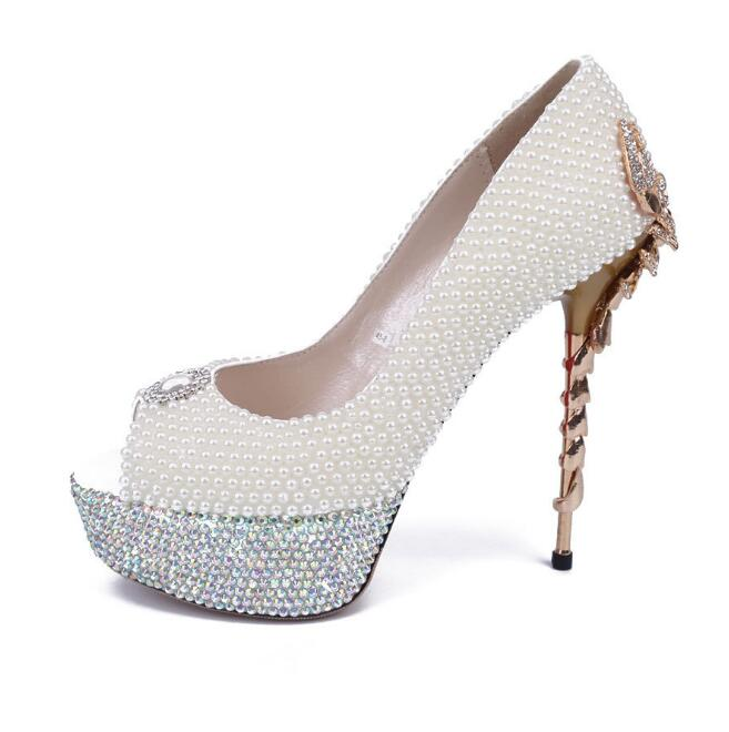 Hot Selling White Pearls Decorations Wedding Heels Sexy peep Toe Woman Platform pumps gold Scorpion heels dress shoes hot selling crystal embellished wedding heels sexy peep toe platform pumps woman high heel shoes