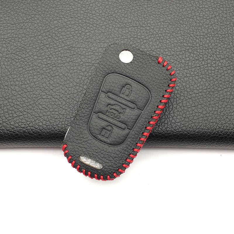 3 кнопки дистанционного флип кожаный чехол Брелок для hyundai i20 i30 ДЛЯ Kia K2 K5 Pro Ceed i40 Санта крышка ключа автомобиля