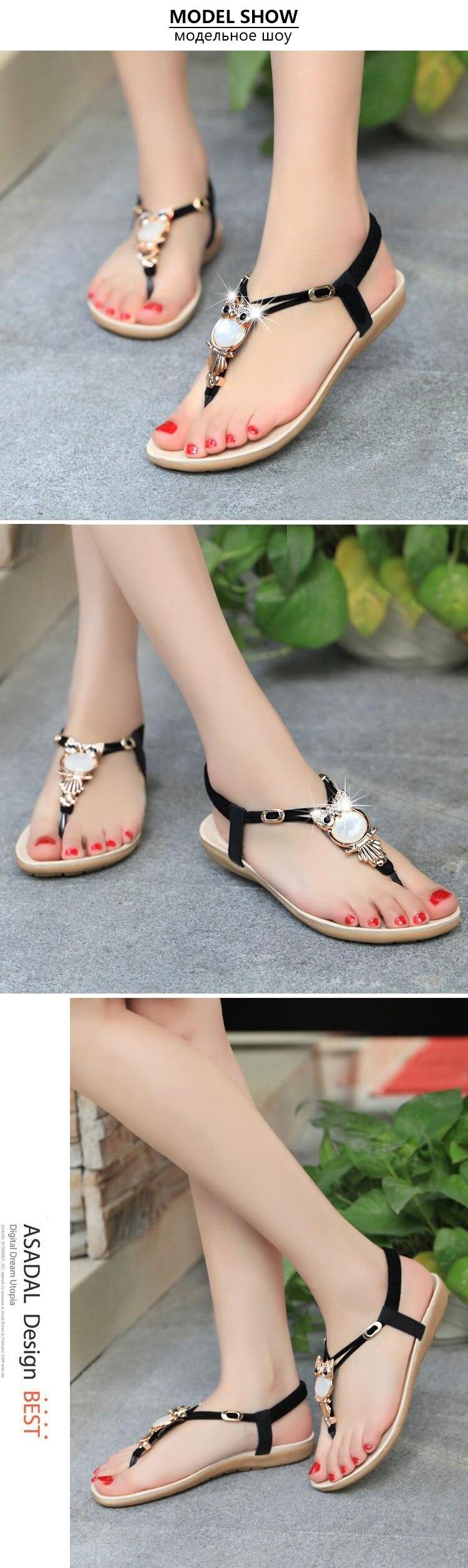 HTB1.L8JkIrI8KJjy0Fhq6zfnpXas Women shoes 2019 hot fashion women sandals elastic t-strap bohemia beaded owl slipper flat sandals women summer shoes flip flop