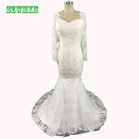 Robe De Mariage Sexy V Neck Long Sleeve Lace Wedding Drsses Detachable Train 2017 Mermaid Bridal