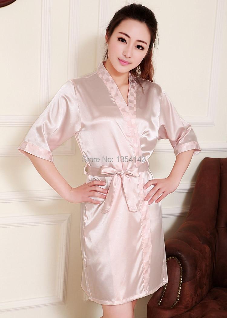 Wedding Satin Robes aliexpress com buy womens summer kimono collar bathrobes silk satin robes for women plus size sleepwearnightgown ladies b