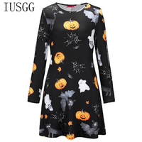 Top Quality Women Girl Halloween Party Dress Long Sleeve Skull Print Dress for Halloween Spider Pumpkin Lantern Devil Dress