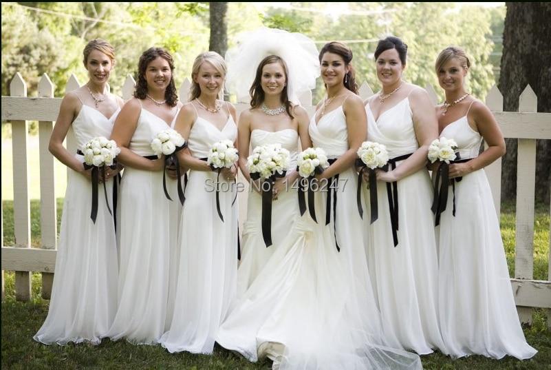 Vintage Spaghetti Strap Backless A Line Bridesmaid Dresses White ...