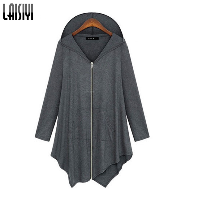Laisiyi Autumn Women Clothing Solid Zipper Coat Loose Irregular Hooded Warm Cardigan Jacket Plus Size Outwear Jaqueta ASCO10025