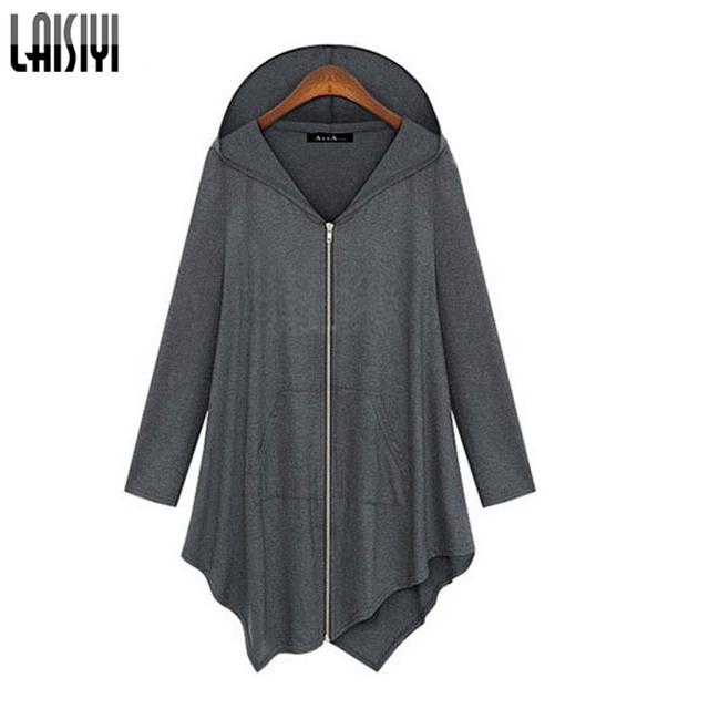 Laisiyi Otoño Ropa Solid Zipper Coat Flojo Irregular Con Capucha Cálida Chaqueta De La Rebeca Más Tamaño Outwear Jaqueta ASCO10025