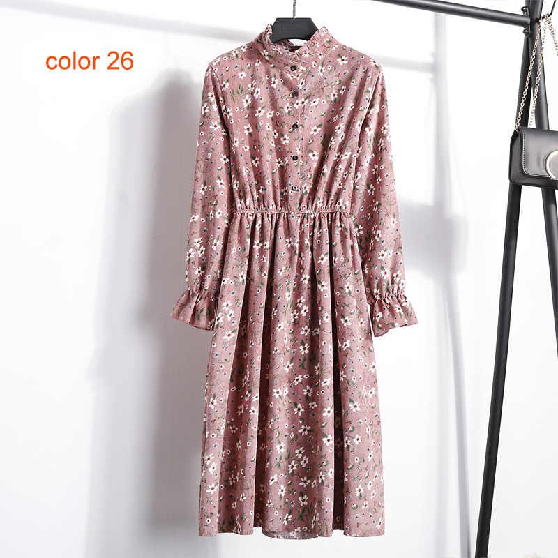 BGTEEVER вельвет мягкий цветочный принт женское осенне-зимнее платье стоячий воротник женские праздничные платья эластичная талия пляжное платье