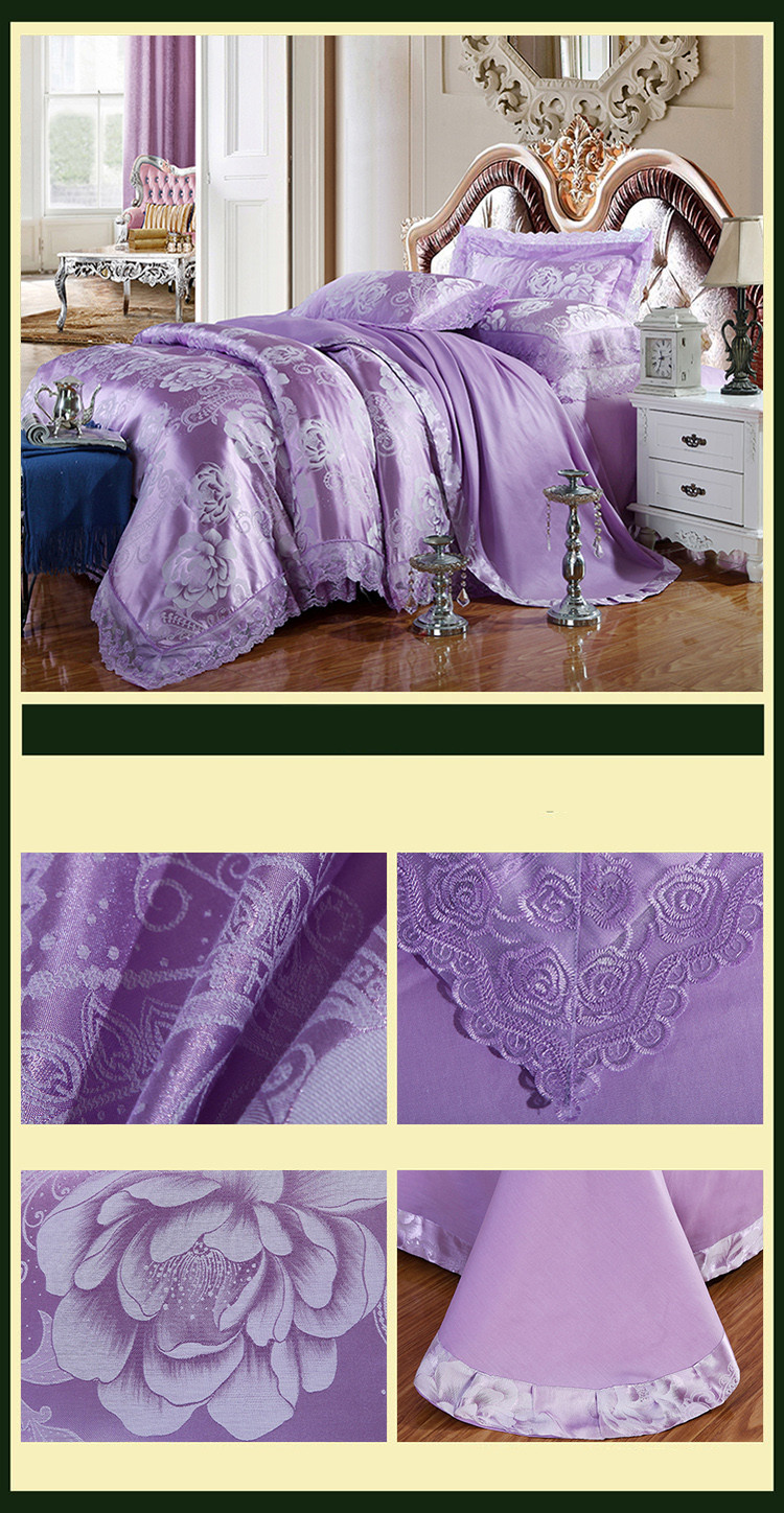 New Luxury Embroidery Tinsel Satin Silk Jacquard Bedding Set, Queen, King Size, 4pcs/6pcs 23