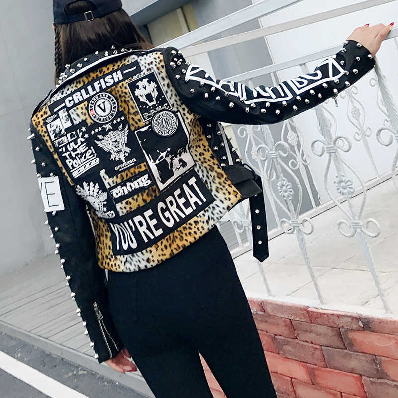 Hip Pop Rivet Pu Leather Bomber Jacket Women Punk Leopard And Letter Print Short Slim Locomotive Pu Leather Coat For Woman
