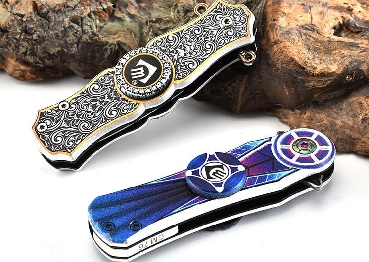 16-20cm Top Quality Stainless Knife Spinner Toy Anti Stress Fidget Spinner Motion Mini Sport Outdoor Spinner Adult Gift D10