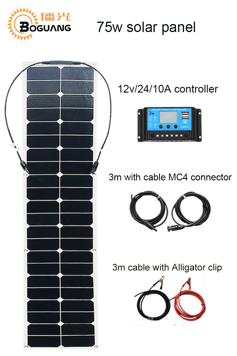 BOGUANG 1460*280mm Strip 75w ETFE flexible solar panel cell 10A controller cable MC4 DIY kit system 12v battery RV yacht light boguang 50w flexible solar panel high efficiency monocrystalline silicon cell 10a controller cable for 12v battery rv yacht car