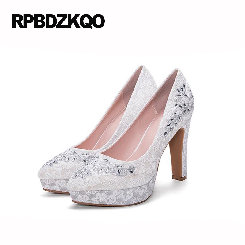 ivory shoes wedding women red lace embroidered plus size platform crystal block embroidery bride pumps rhinestone