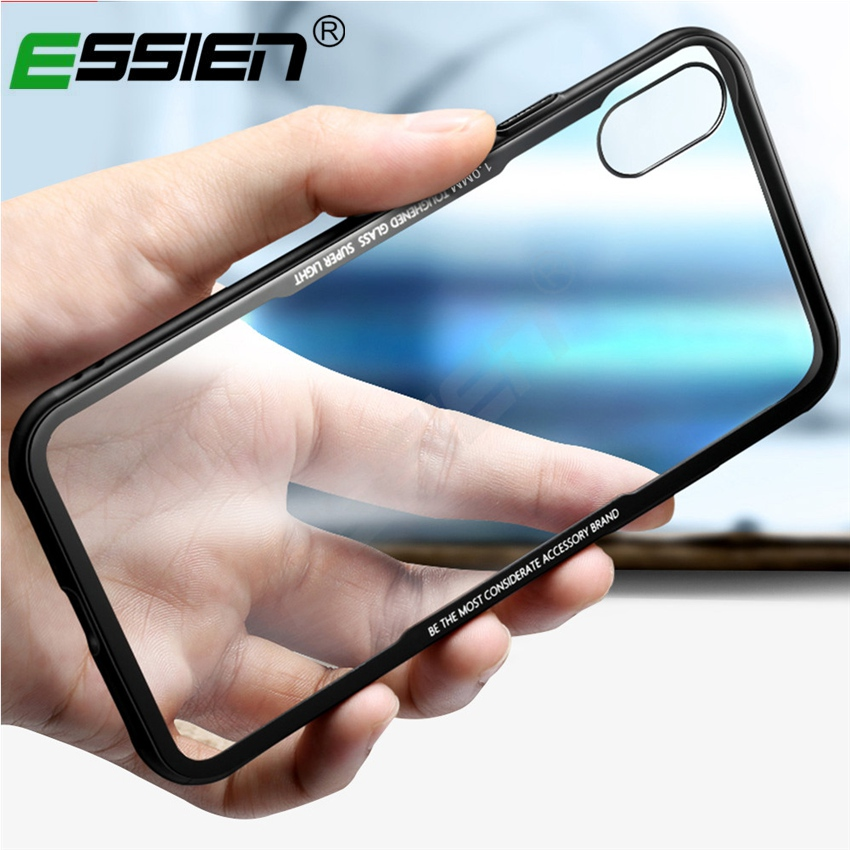 Essien Silicone Soft Edge Phone Case Anti-knock Back Cover for iPhone X 6 6s plus 7 8 Plus for Samsung Note8 S8 S9 Plus Case