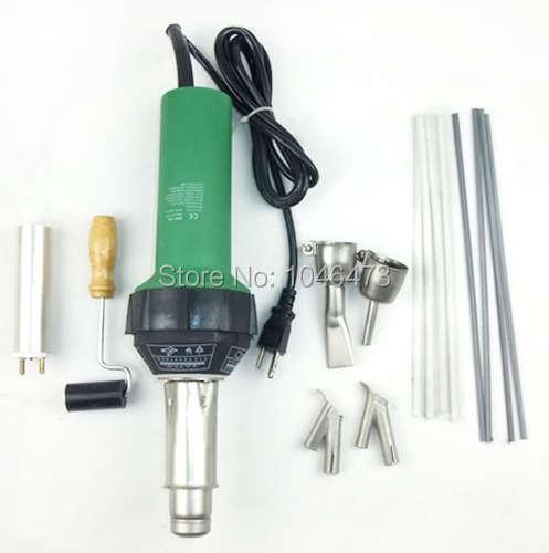 1500W Plastic Hot Air Torch Welding Gun Welder + 2x Nozzles + 2x Speed Nozzle +1x Heater Element + 1x Roller + some plastic rod  цены