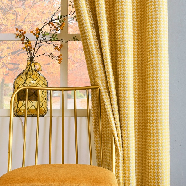 gigizaza retro style check out blinds window thermal curtains for living room pink grey green yellow - Thermal Curtains