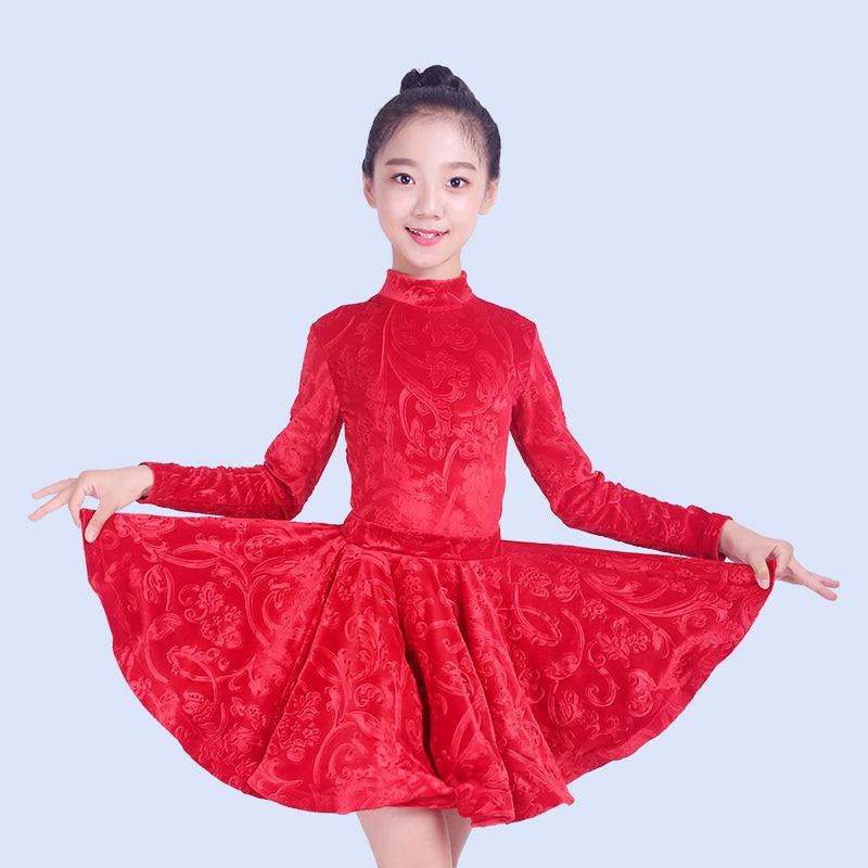 Embossing Latin Dance Dress For Girls Tango Cha Cha Rumba Salsa Competition Dance Wear Children Split Skirt Costumes DNV10342