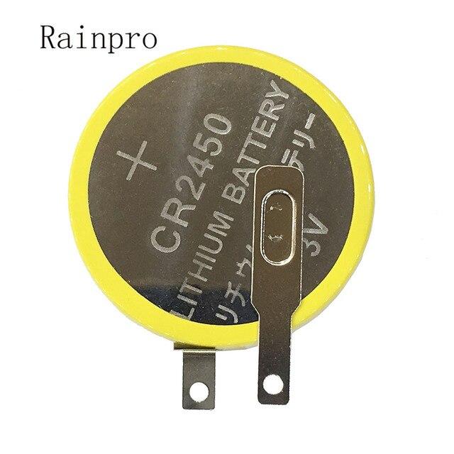 Rainpro 2 قطعة/الوحدة CR2450 زر بطارية ليثيوم 3 فولت مع دبابيس لحام للوحة الأم/جهاز طهي الأرز