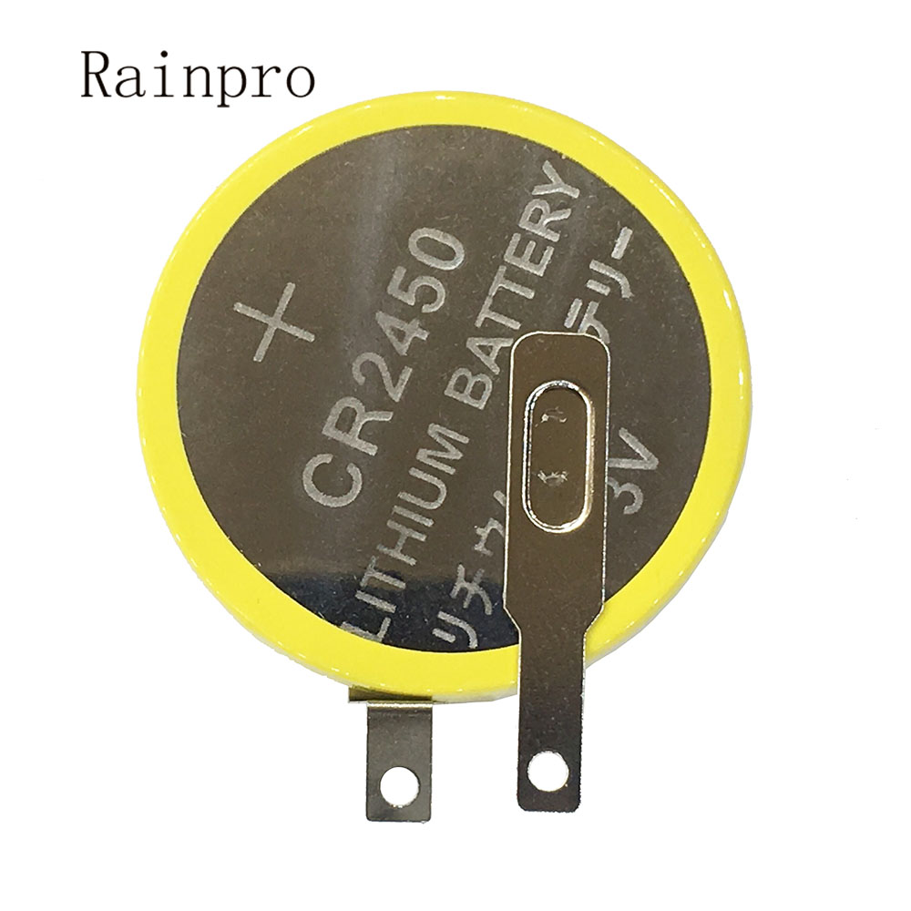 Rainpro 2PCS/LOT CR2450 Button Lithium Battery 3V With Weldding Pins  For Motherboard/Rice Cooker