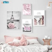цены на Poster Nordic Pink Rose City Landscape Eiffel Tower Girl Wall Art Canvas Painting Decoration Wall Picture Living Room Home Decor  в интернет-магазинах