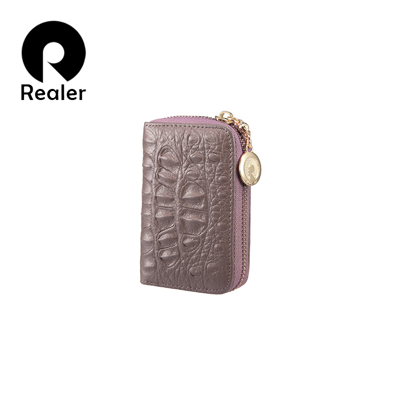 REALER women's wallet mini purse short clutch wallets genuine leather zipper money bag woman card holder female Coin bags xzxbbag fashion female zipper big capacity wallet multiple card holder coin purse lady money bag woman multifunction handbag