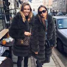 FURSARCAR 2019 Winter Real Fox Fur Coat Women Long Luxury Female Natural Jacket With Genuine Hood Fashion