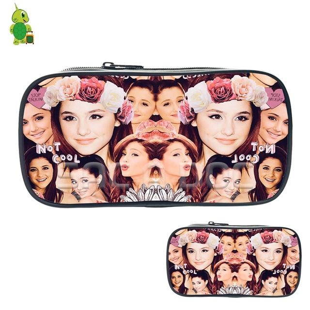 96850b19ff0938 Famous Ariana Grande Collage Cosmetic Bags Boys Girls Children Large Pencil Case  Purse Storage Bags Women Men Fashion Makeup Bag