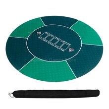 120cm Texas Holdem tisonnier nappe en caoutchouc tapis de Poker tapis de Table ronde 3mm jeu de société en tissu mises en page