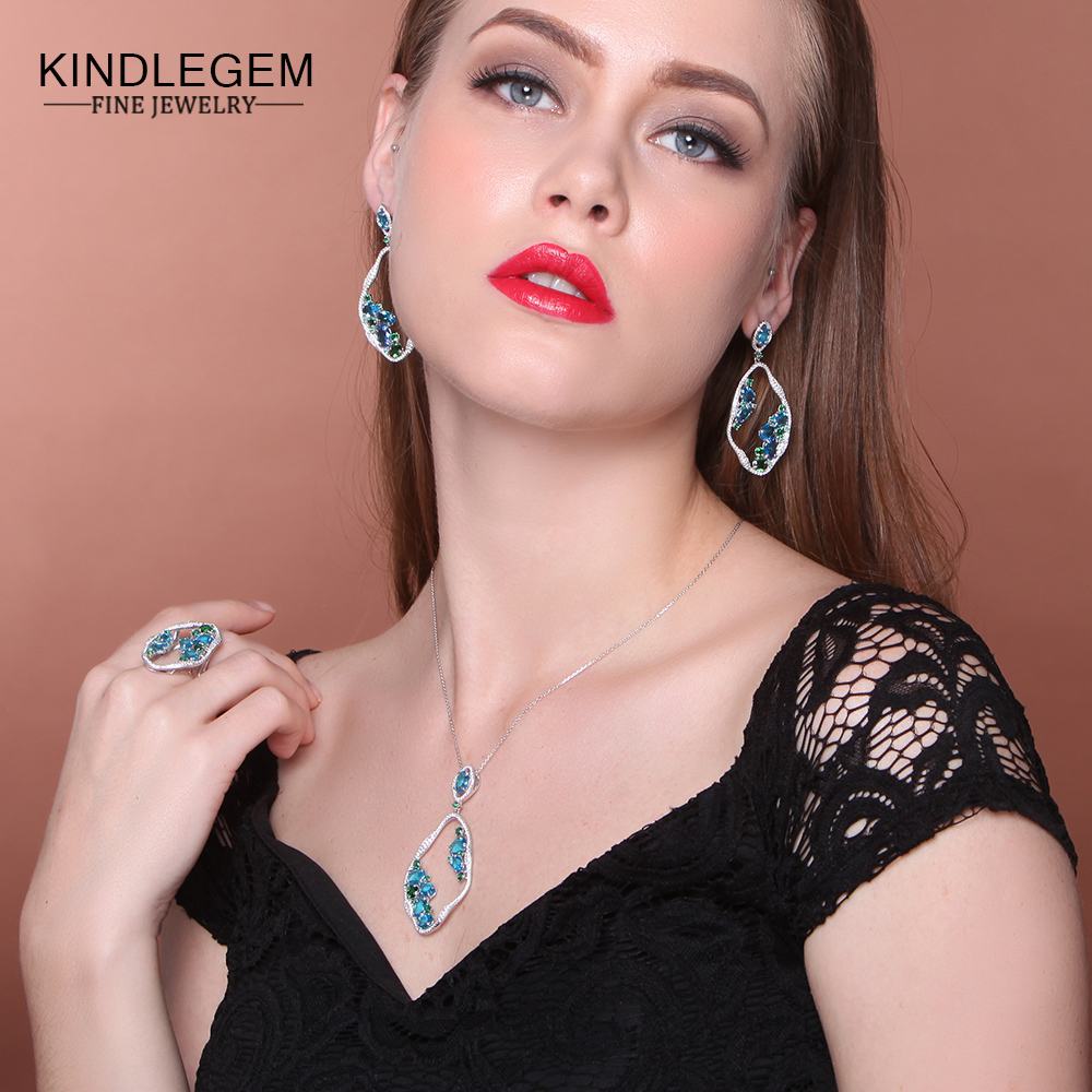 Kindlegem Exquisite 925 Sterling Silver Fine Jewelry Set Charms Blue Green Crystal Pendant Necklace Earrings Ring For Women exquisite faux crystal rhinestone rectangle pendant necklace and earrings for women