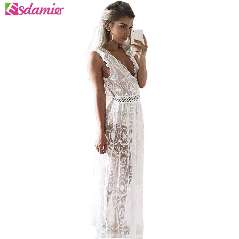 New Women Sexy Deep V Neck Backless Party Dress Slim Crochet Lace Maxi Dress See Through Beach Dress Long Summer Sleeveless Robe