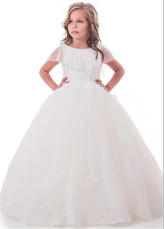 White Cap Sleeves Ball Gown Flower Girl Dresses for Wedding With Lace Beaded Appliques Girls Communion Dress Size 2-16yWhite Cap Sleeves Ball Gown Flower Girl Dresses for Wedding With Lace Beaded Appliques Girls Communion Dress Size 2-16y
