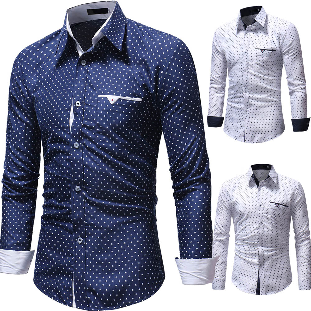 c7232fefcc21d9 Men Shirt luxury Brand Long Sleeve Tops 2018 Fashion Geometric Printed  Casual Shirts Slim Fit Plus Size Men Clothes White | Mikes Wholesale Mart