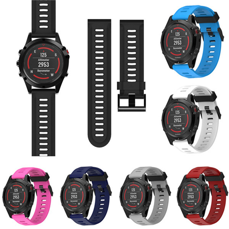2018 New High Quality Watch Strap 26mm Replacement Silicagel Soft Band Strap For Garmin Fenix 5X GPS Watch 7colors Watchbands multi color silicone band for garmin fenix 5x 3 3hr strap 26mm width outdoor sport soft silicone watchband for garmin 26mm band