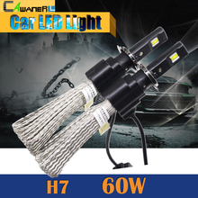 Cawanerl 1 Pair 60W H7 LED Bulb 6400LM 6500K Cool White Conversion Car Motorcycle Headlight Fog Daytime Running Lamp DRL